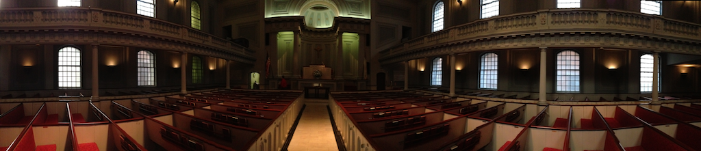 Panorama of the sanctuary of New Jersey's oldest church, Old First Presbyterian inNewark.