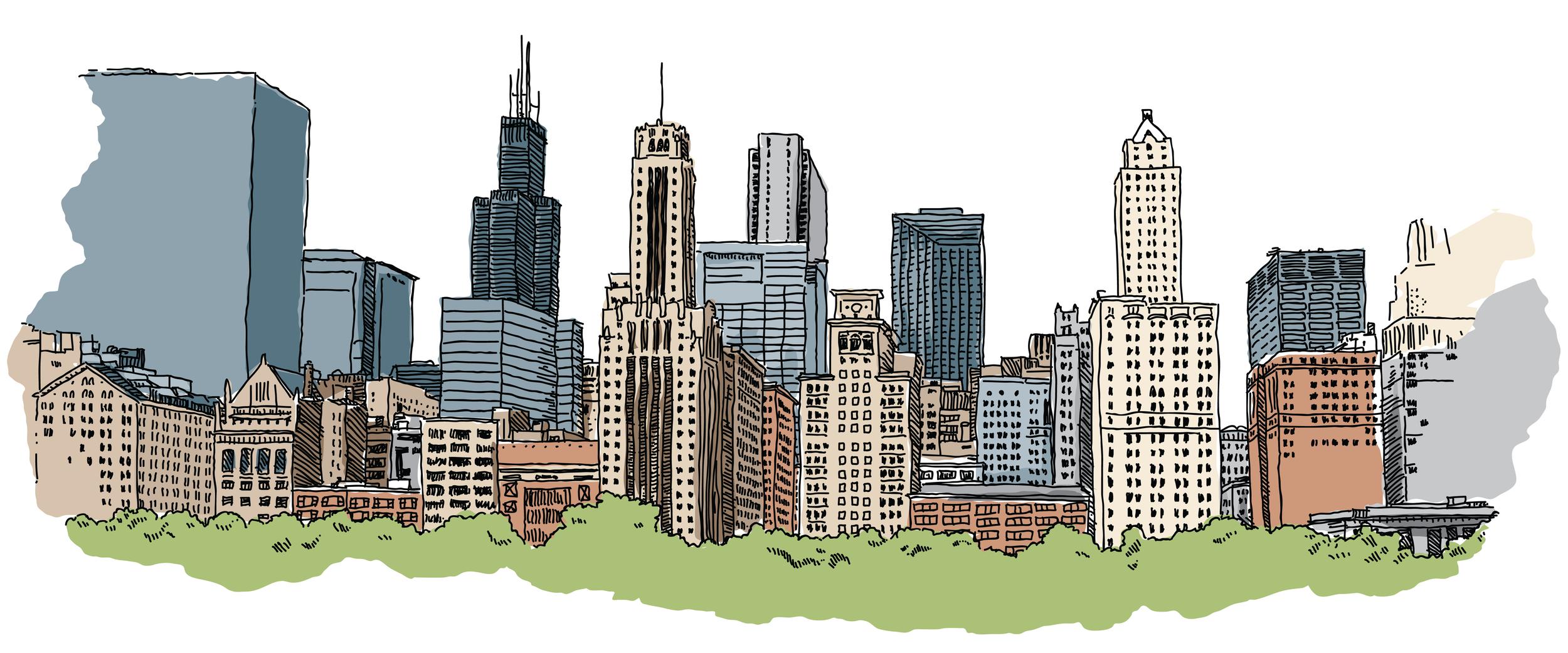 Detroit, Michigan skyline.