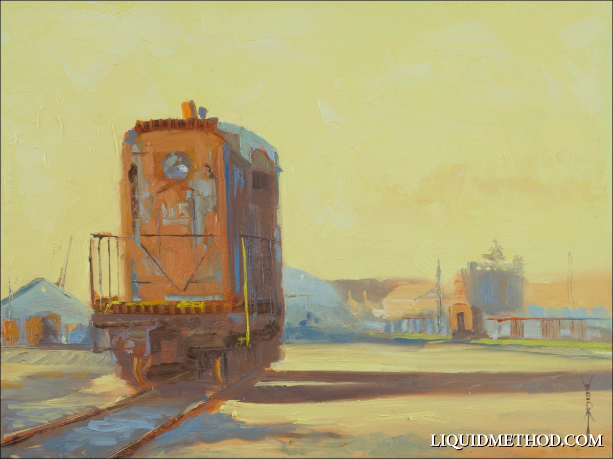"""""""Rusty Engine No.5"""" 9x12 oil on board. FOR SALE."""