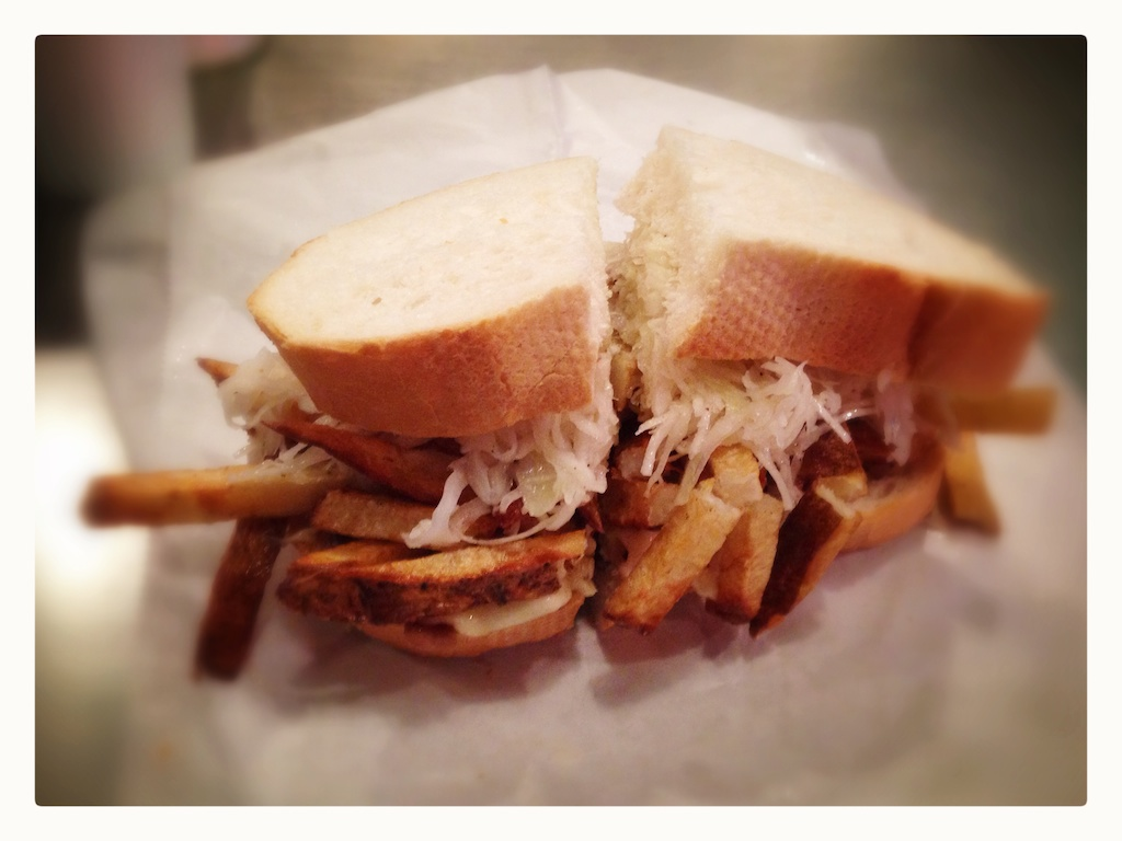 A Primanti Bros. roast beef and cheese drowned in french fries and slaw.
