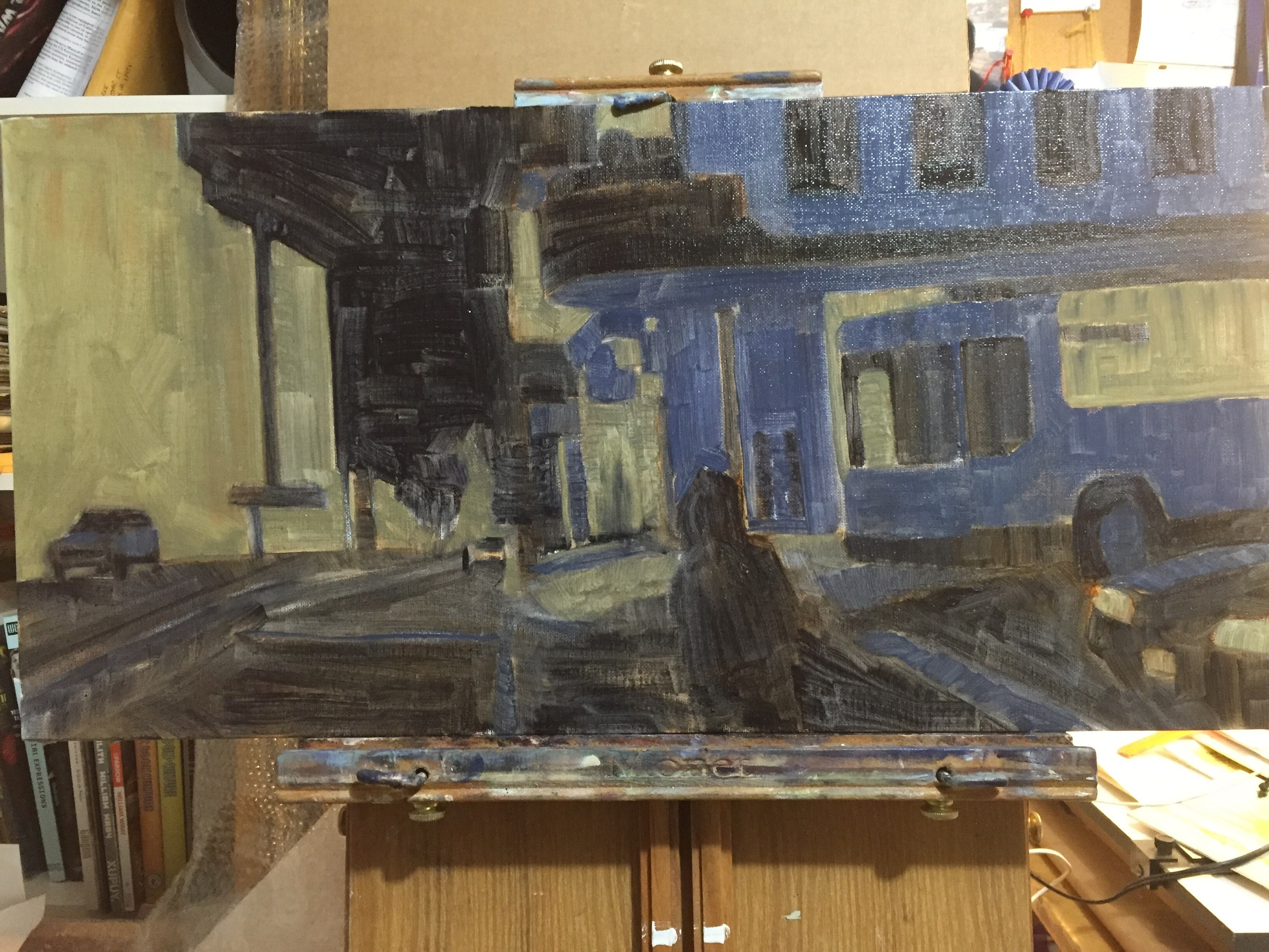 My attempt at simplifying what is going to a busy painting once completed.