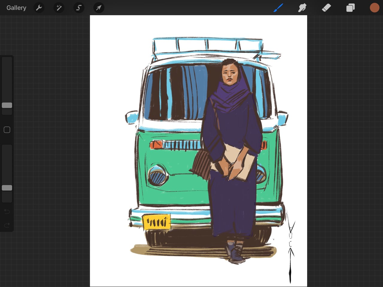 Girl and Bus WIP