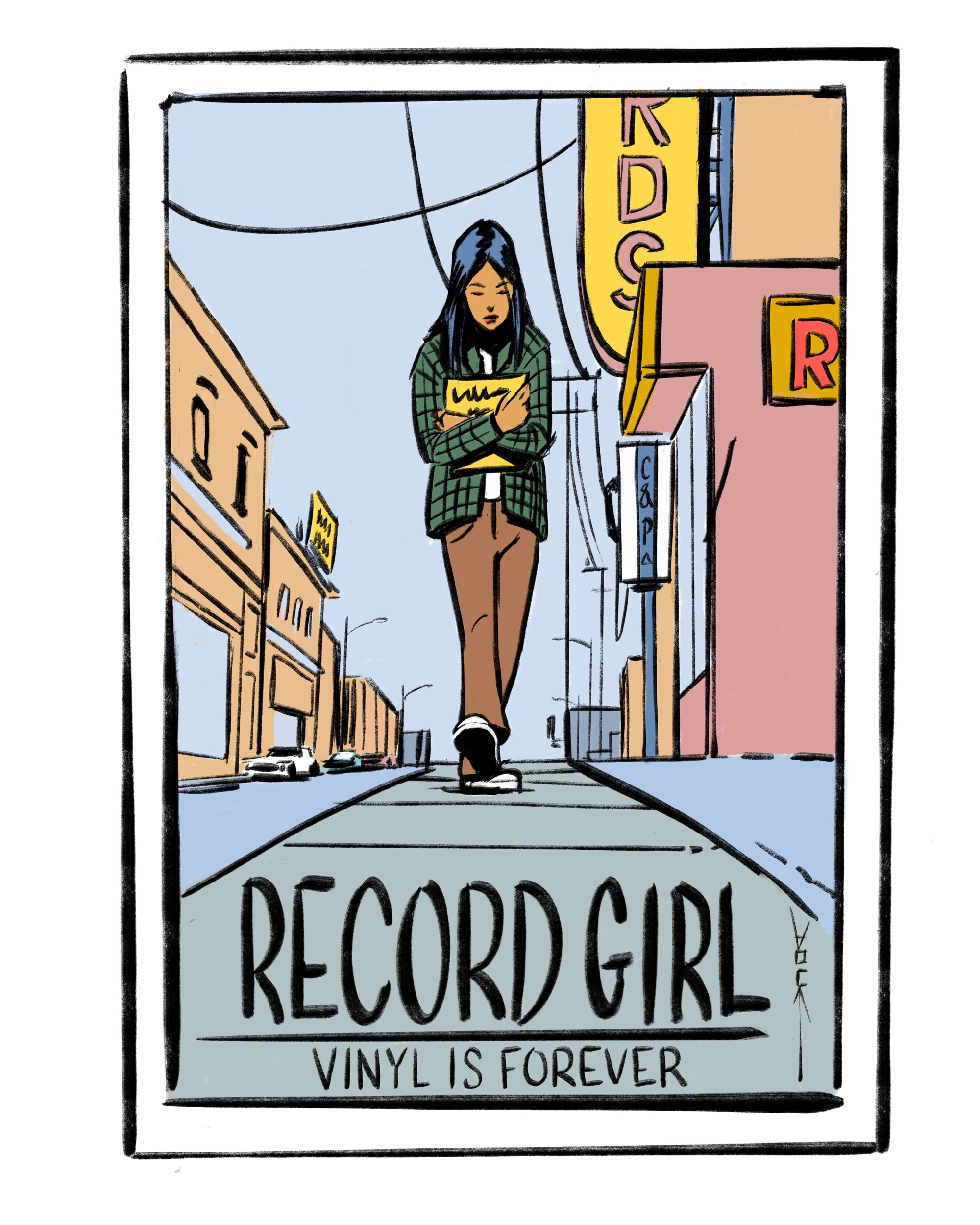 RECORD GIRL COVER - VINYL IS FOREVER