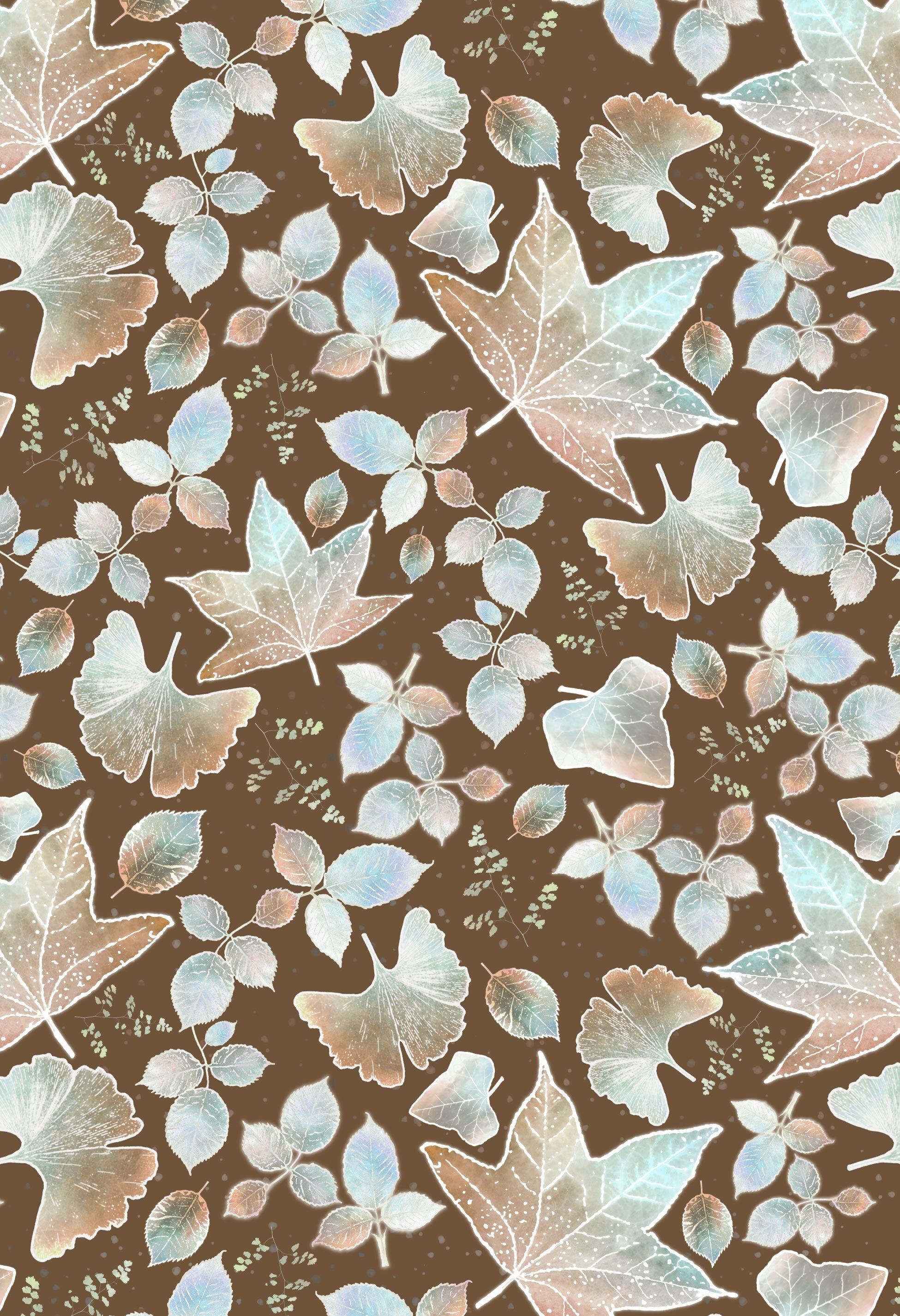 Large leaves allover mint latte brown background.jpg