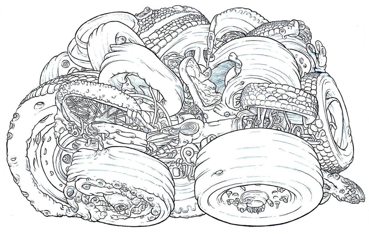 "Wheels (blue ink) 14"" x 17.5"", 2013"