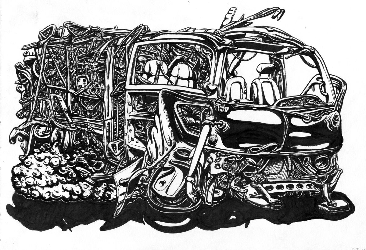 """Junk in Trunk, 2012, brush and ink 9"""" x 12"""""""