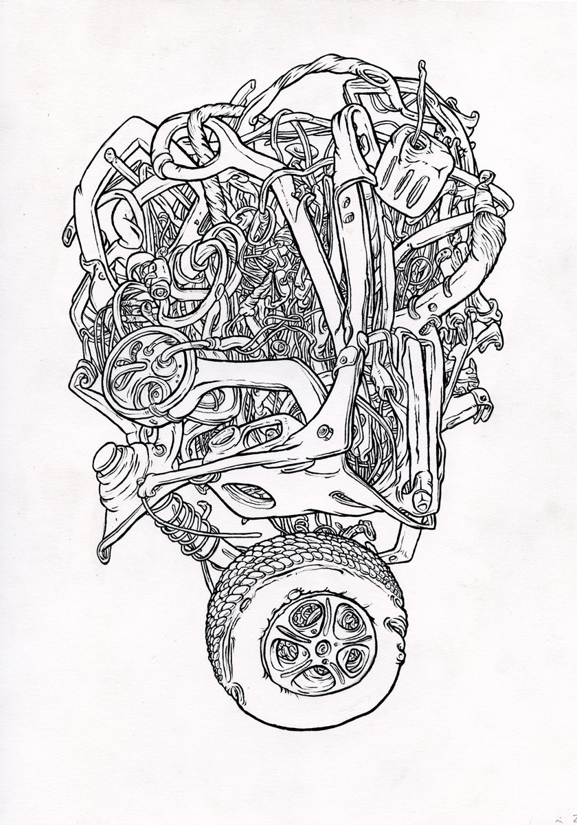 """Tire Drop, brush and ink, 10"""" x 12"""", 2012"""