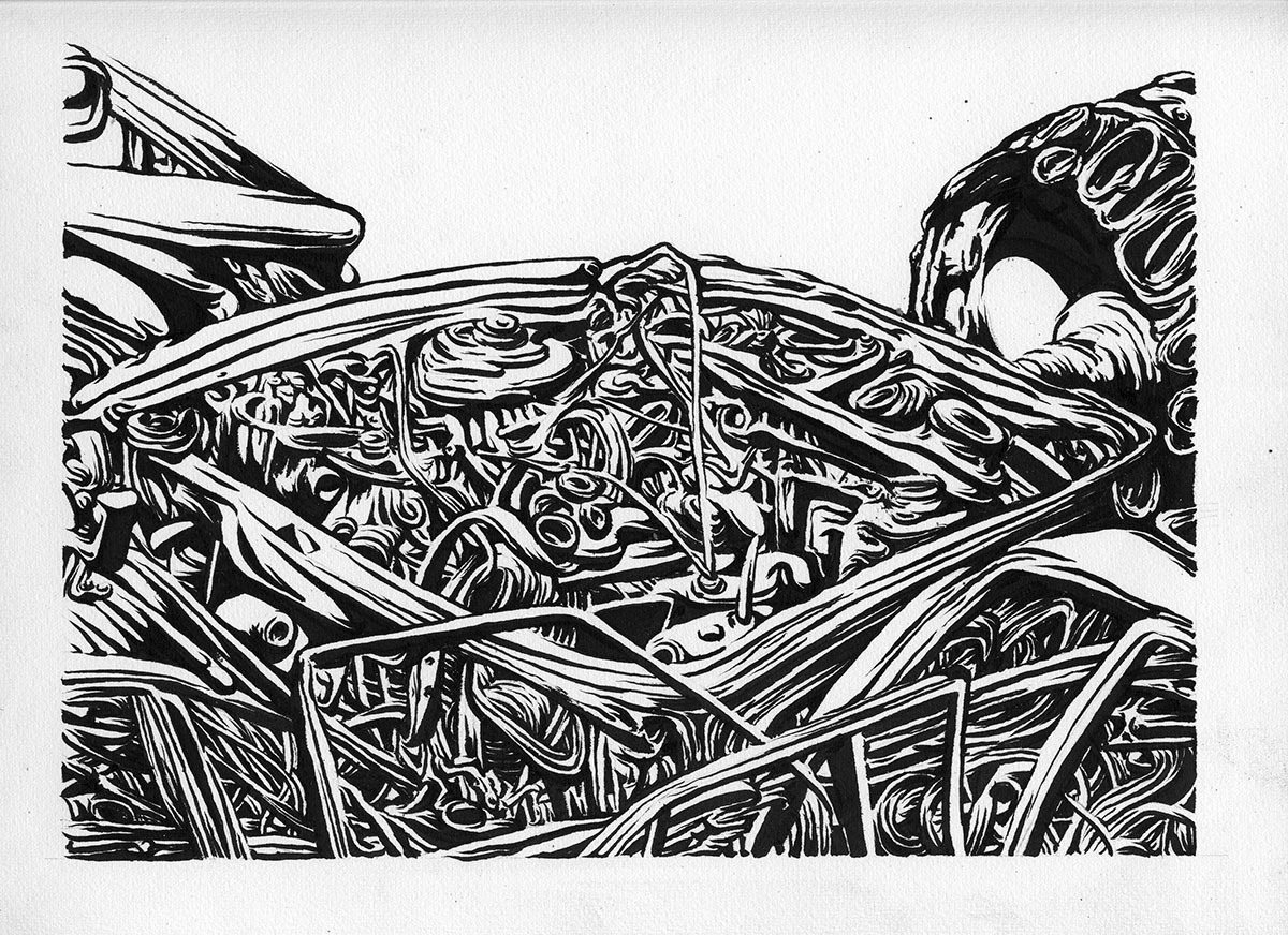 """Container - black ink study 2013 - 10"""" x 12"""""""