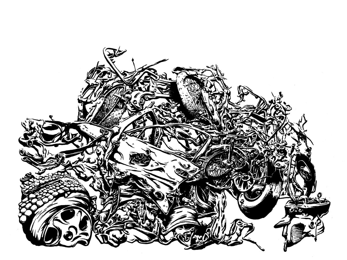 """Motorcycles (strong contrast) 2012, 13"""" x 17"""" bruns & ink"""