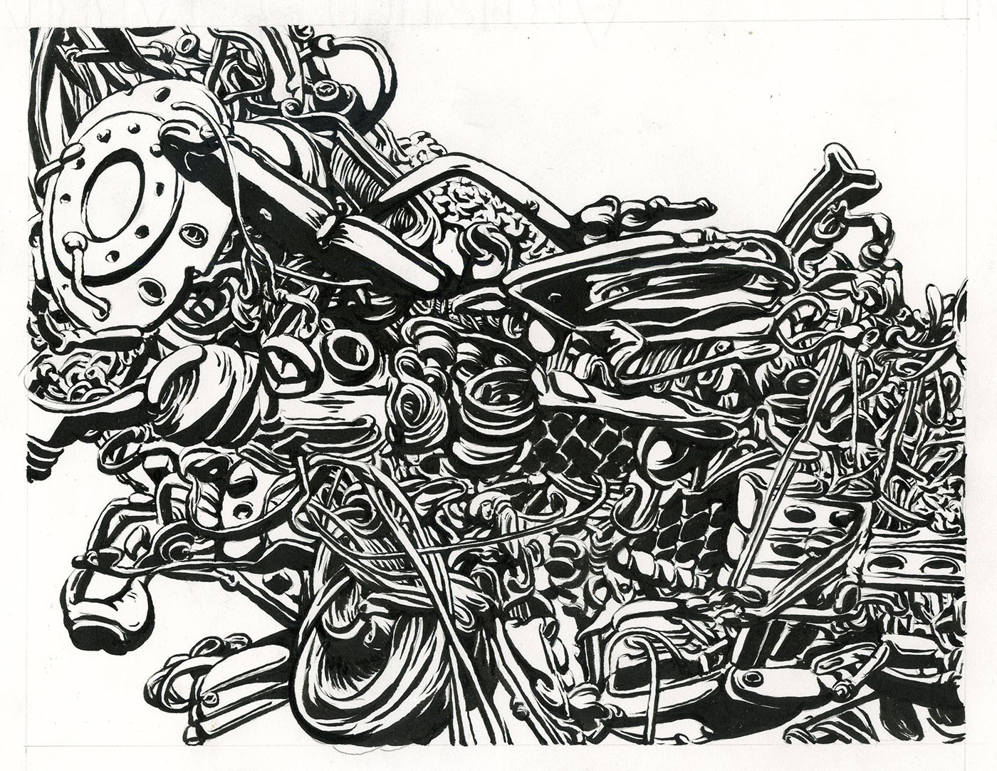 "2013, brush & ink 9"" x 11"""