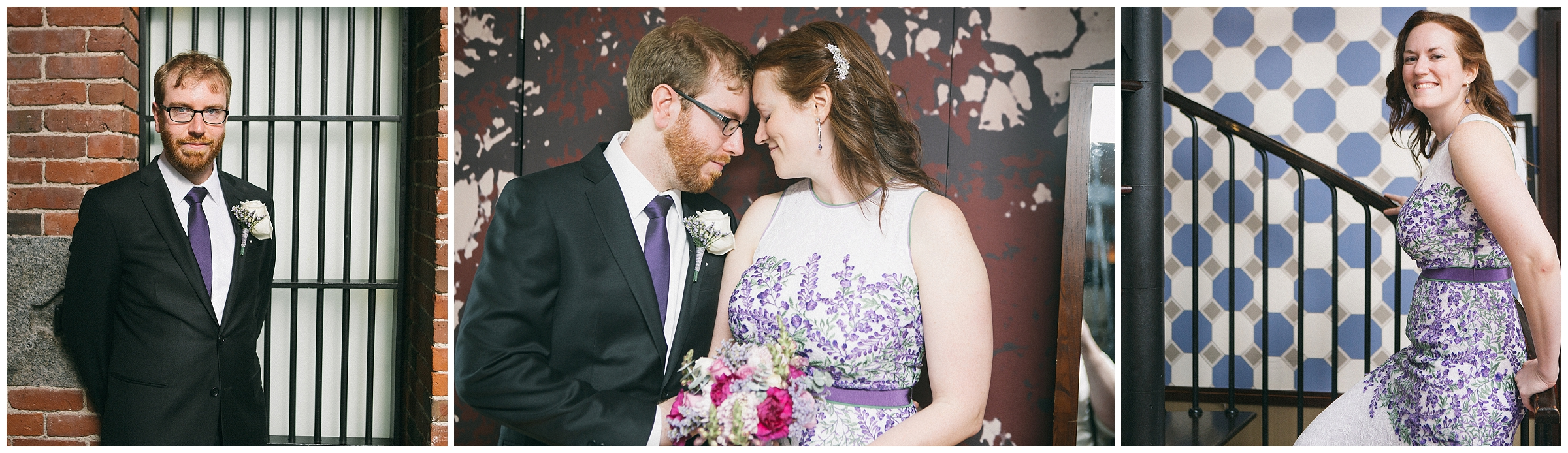 Liberty Hotel Boston Wedding Photography - Portraits of Bride and Groom. Groom in front of barred window, bride on spiral staircase by Ryan Richardson Photography.