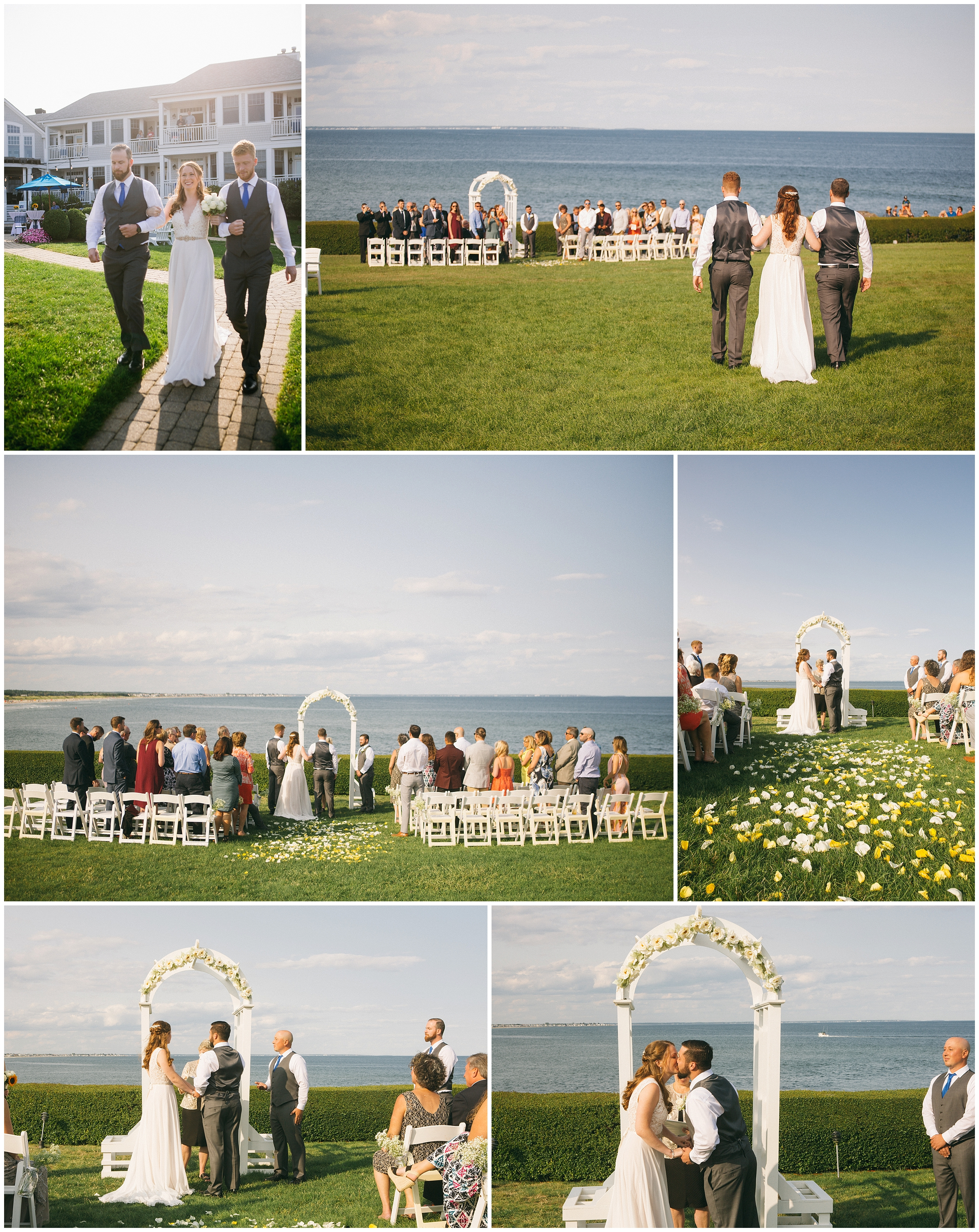 A wedding ceremony against the Atlantic Ocean at the Beachmere Inn in Ogunquit Maine. Photography by Boston Wedding Photographer, Ryan Richardson Photography.
