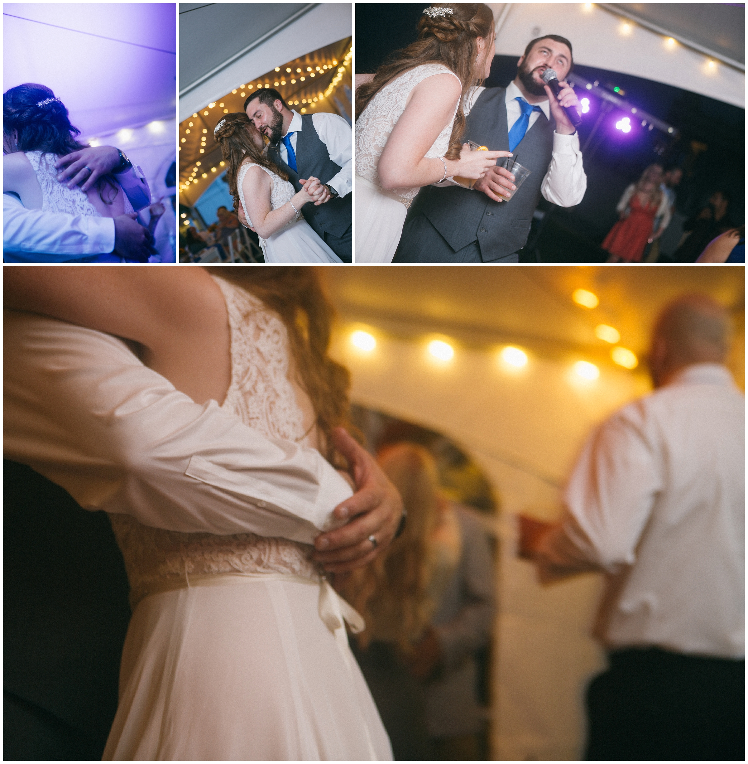 Photographs of the bride and groom dancing, embracing with their arms around one another, as well as a bit of impromptu karaoke at the Beachmere Inn in Ogunquit Maine. Wedding Photography by Ryan Richardson Photography