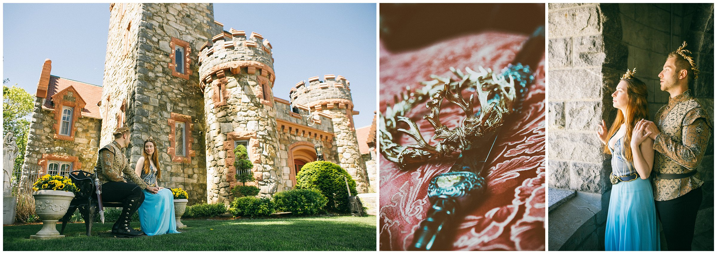 Your engagement session doesn't have to sit inside of the typical box, you can go above and beyond to express yourself and have a lot of fun. We shot this session with a couple very into cosplay at Searle's Castle in New Hampshire.