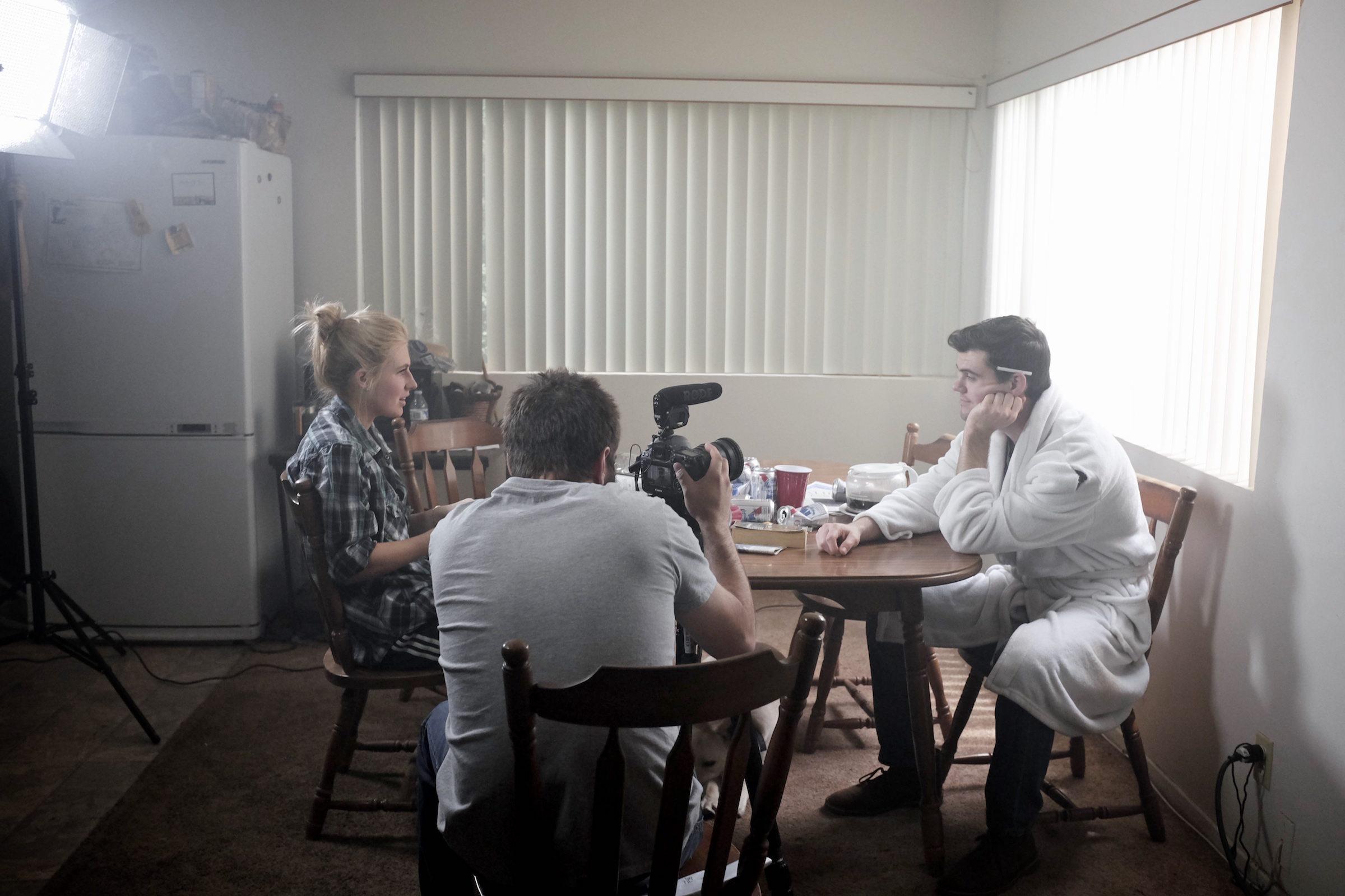 Cameron Kelly, Zach Frankart, and Trent Rowland on set