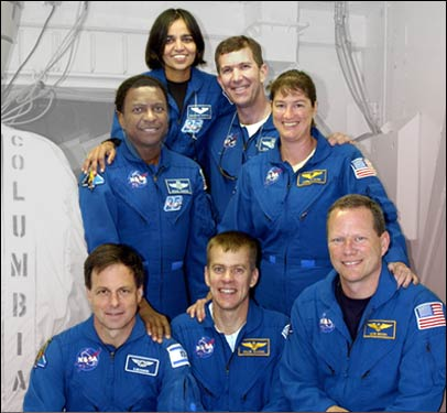 The STS-107 crew, clockwise from top: Mission Specialist Kalpana Chawla, Commander Rick Husband, Mission Specialists Laurel Clark and David Brown, Pilot Willie McCool, Payload Specialist Ilan Ramon and Payload Commander Michael Anderson.