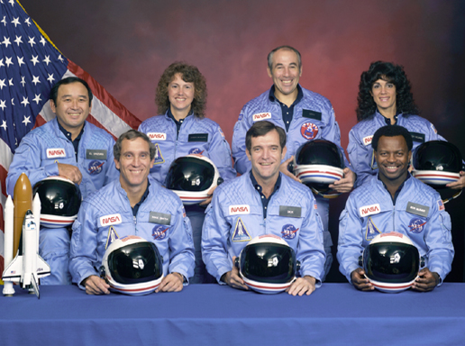 The crew of STS-51-L: Front row from left, Mike Smith, Dick Scobee, Ron McNair. Back row from left, Ellison Onizuka, Christa McAuliffe, Greg Jarvis, Judith Resnik.