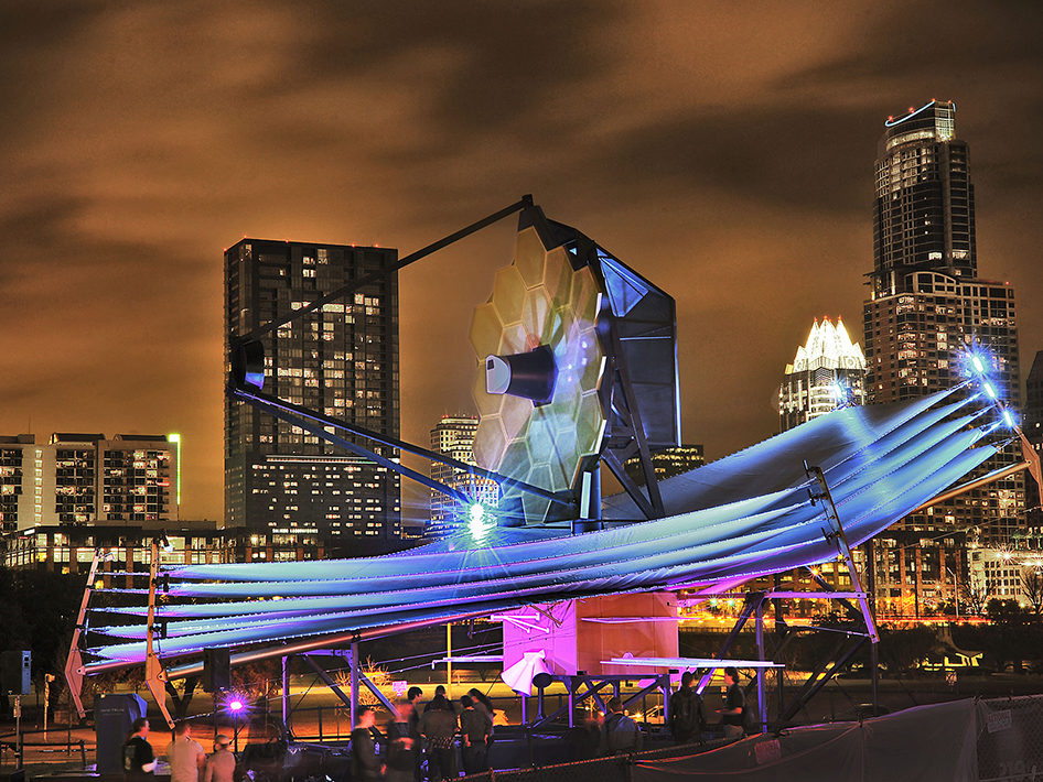 As big as a tennis court and as tall as a four-story building, a full-scale model of the James Webb Space Telescope model was on display from March 8-10 at the South by Southwest Interactive Festival in Austin, Texas.  NASA's James Webb Space Telescope is the successor to Hubble and the largest space telescope to ever be built.      Image Credit: NASA/Chris Gunn
