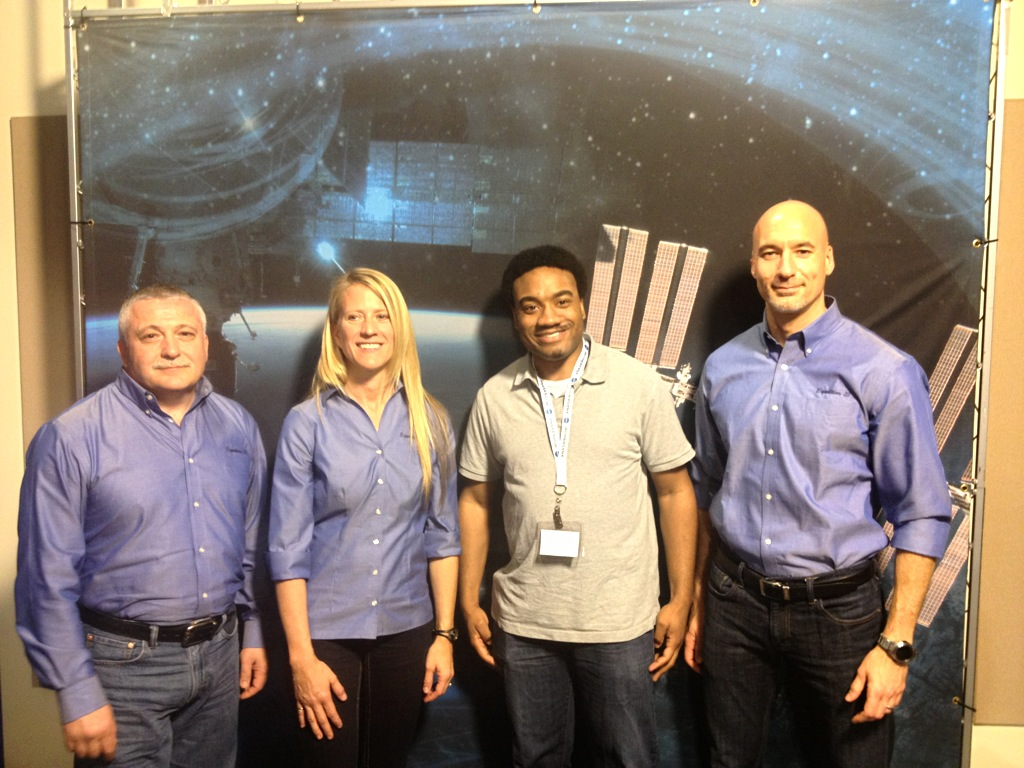 From L to R: Fyodor Yurchikhin of the Russian Federal Space Agency,Karen Nyberg of NASA, me, and Luca Parmitano of the European Space Agency.