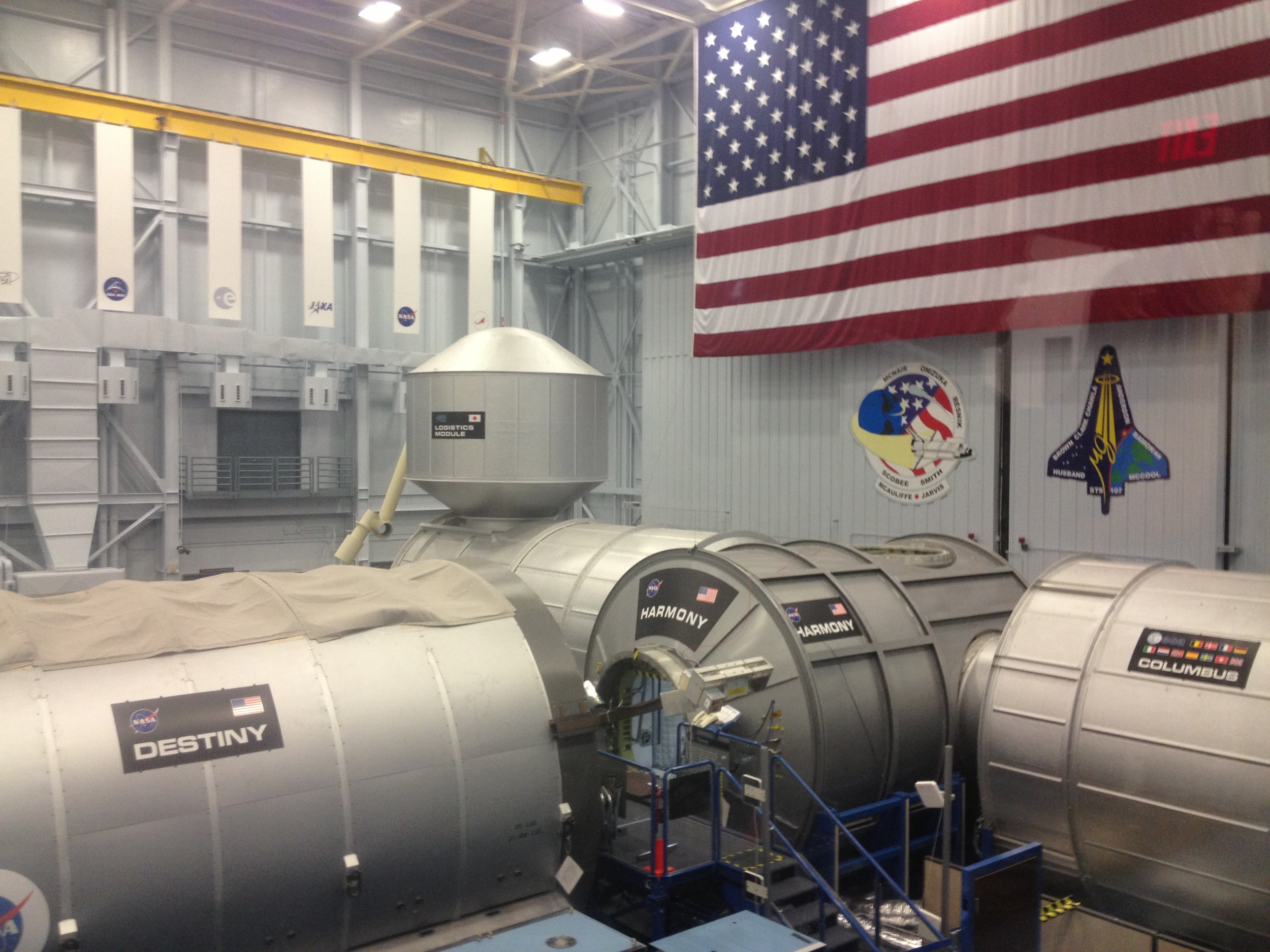 The catwalks above the ISS mockup allowed us to appreciate the large scale of the station. It's about the size of a football field.