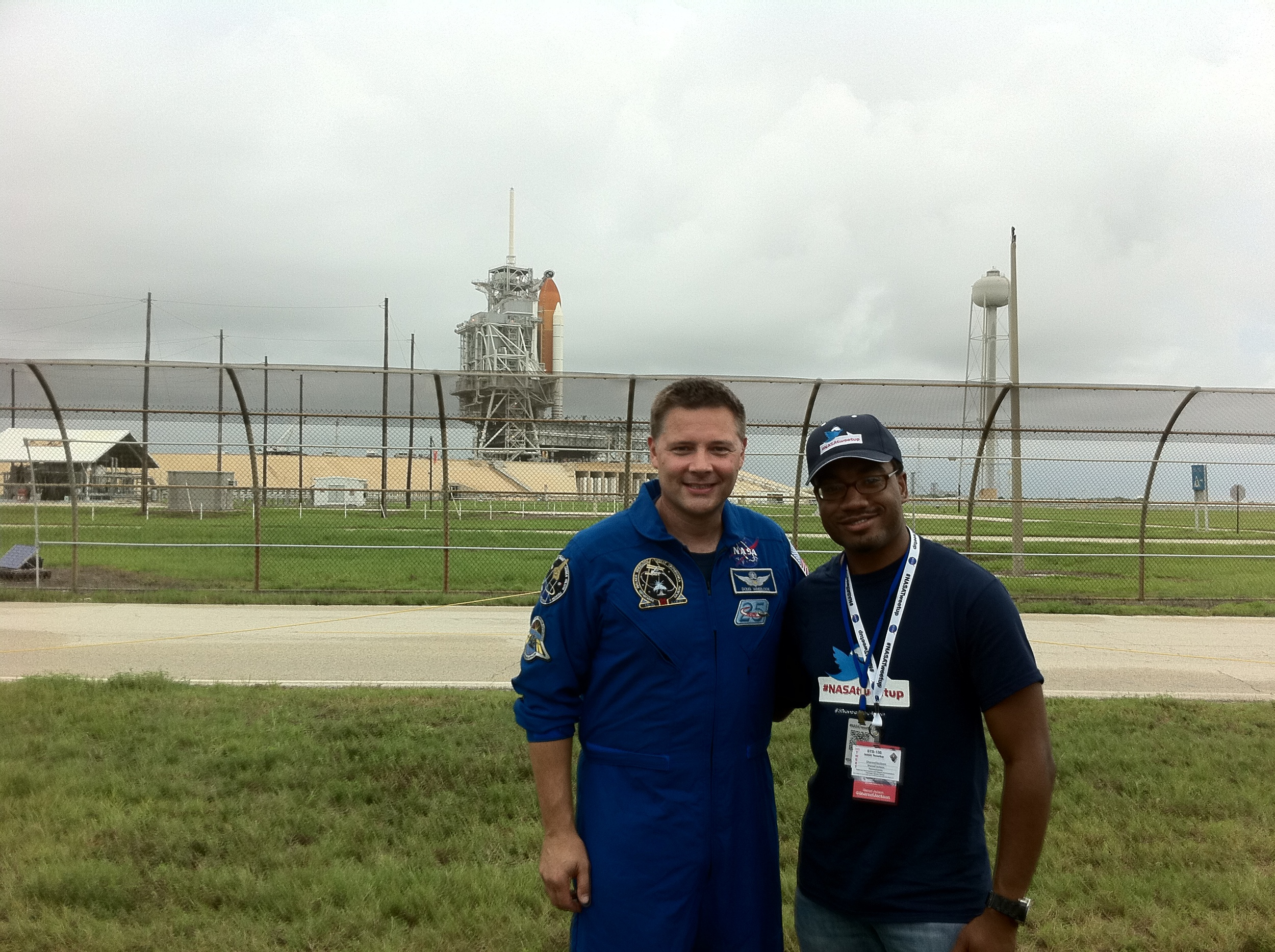 Me and Astronaut Doug Wheelock in front of the Space Shuttle Atlantis, the day before liftoff