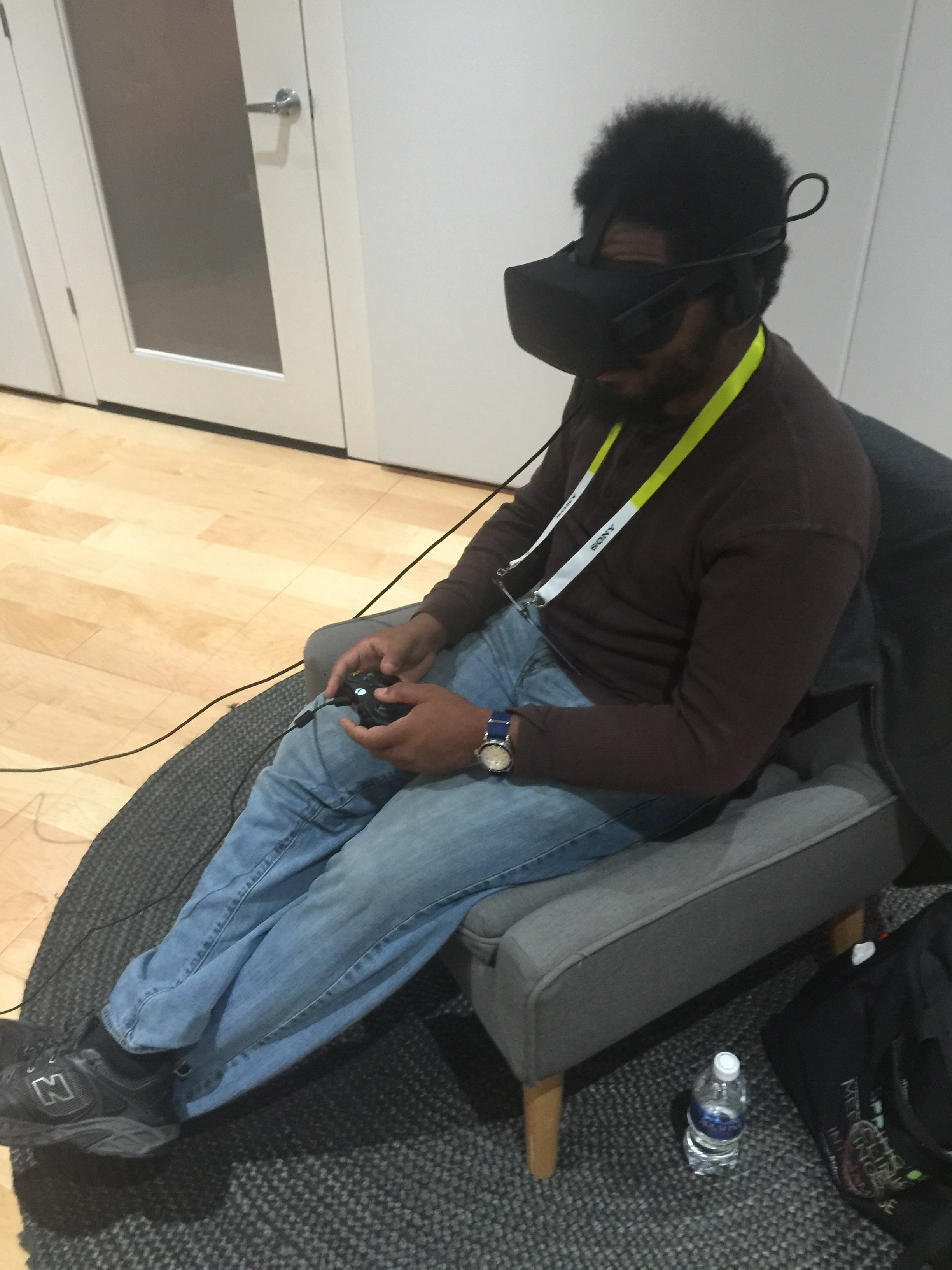 Believe it or not, I'm flying through space in the game Eve Valkyrie for the Oculus Rift