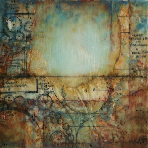 Chelone  (2012). Encaustic and mixed media on panel. 12 x 12 in.