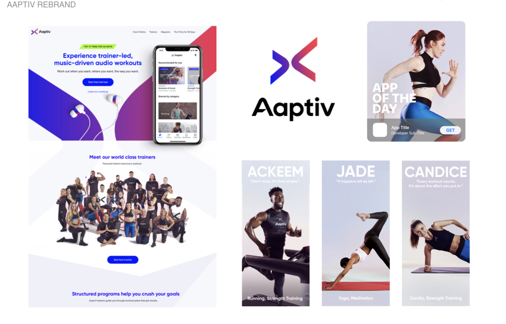 "Role: Aaptiv / VP Brand & Creative   Audio fitness app  Aaptiv  had just gone through a name change. They were in need of brand strategy and visual direction. From a new identity system and photography to individual uniforms for over twenty trainers translated into a successful relaunch to members and prospects resulting in our double feature as Apple's ""App of the Day""  Check it out."