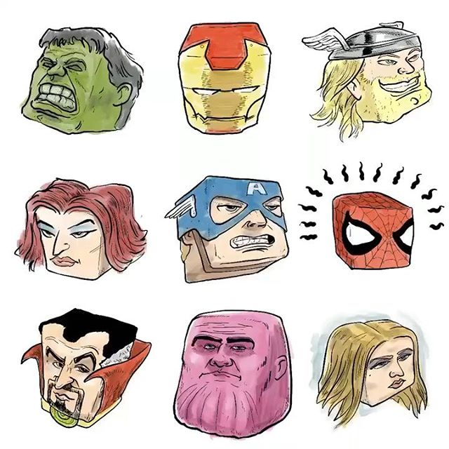 A little bloqhead fun in honor of #endgame #avengers #sketchoftheday #characterdesign #moleskine #digitalart #sketchbook #drawing #doodle #art #sketch #inktober #artist #design #comicbooks #comics #doodles #nofilter #thor #spidey #thanos