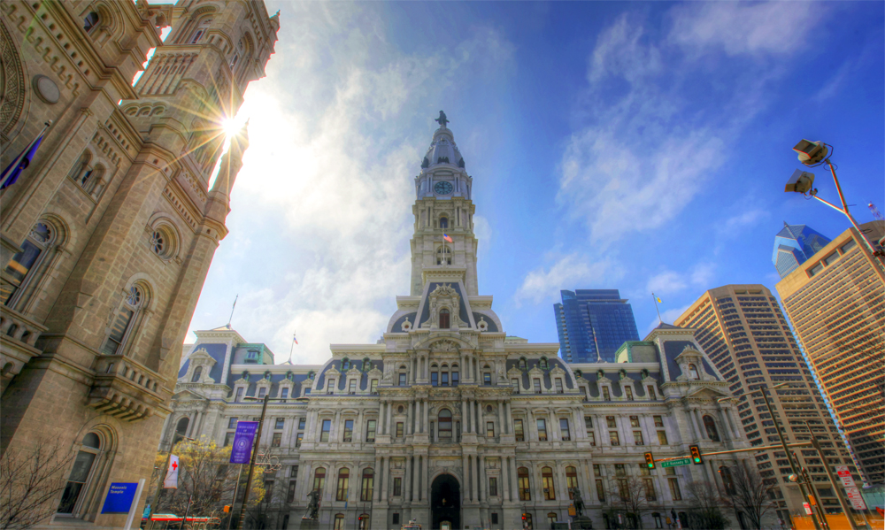 At 548 feet, including the statue of city founder William Penn on top, it's the world's tallest masonry building.