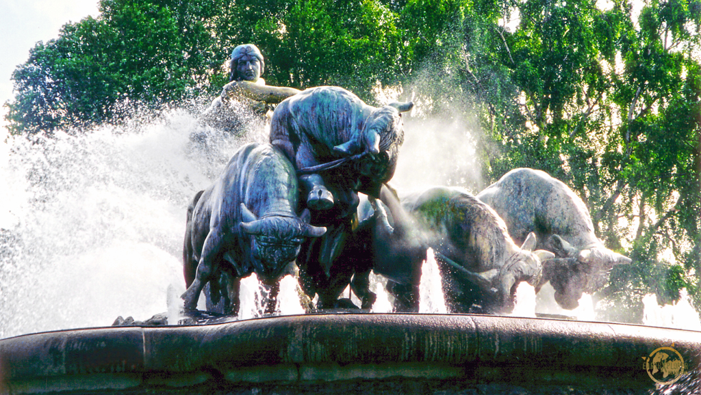 The Gefion fountain illustrated the energetic Norse Goddess Gefion - who swings her whip over her sons (the oxen) The water sprays up from behind the wheels, the plough and comes out the oxen nostrils to emphasizes the power and strength they're putting into their work.
