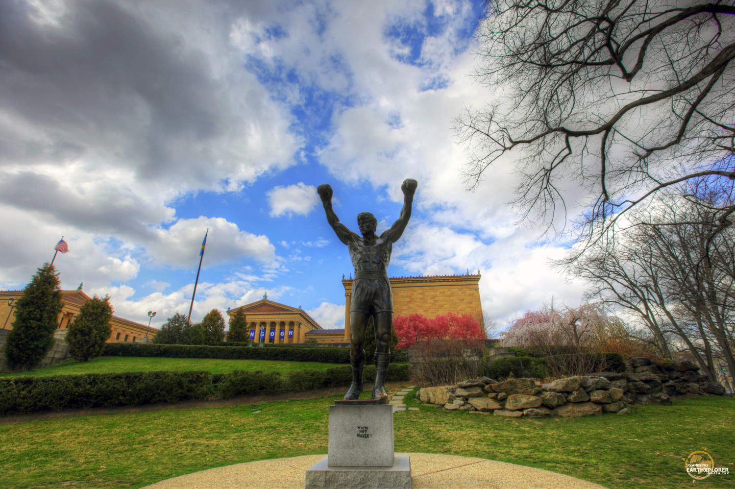 The 2-ton, 10-foot-tall bronze statue of Rocky was created by A. Thomas Schomberg and is located at the bottom of the stairs at the Philadelphia Museum of Art.