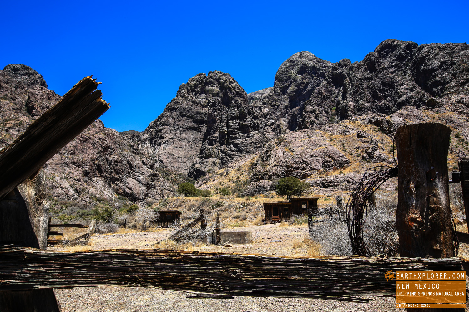 The Dripping Springs Natural Area is located 10 miles east of Las Cruces, New Mexico.