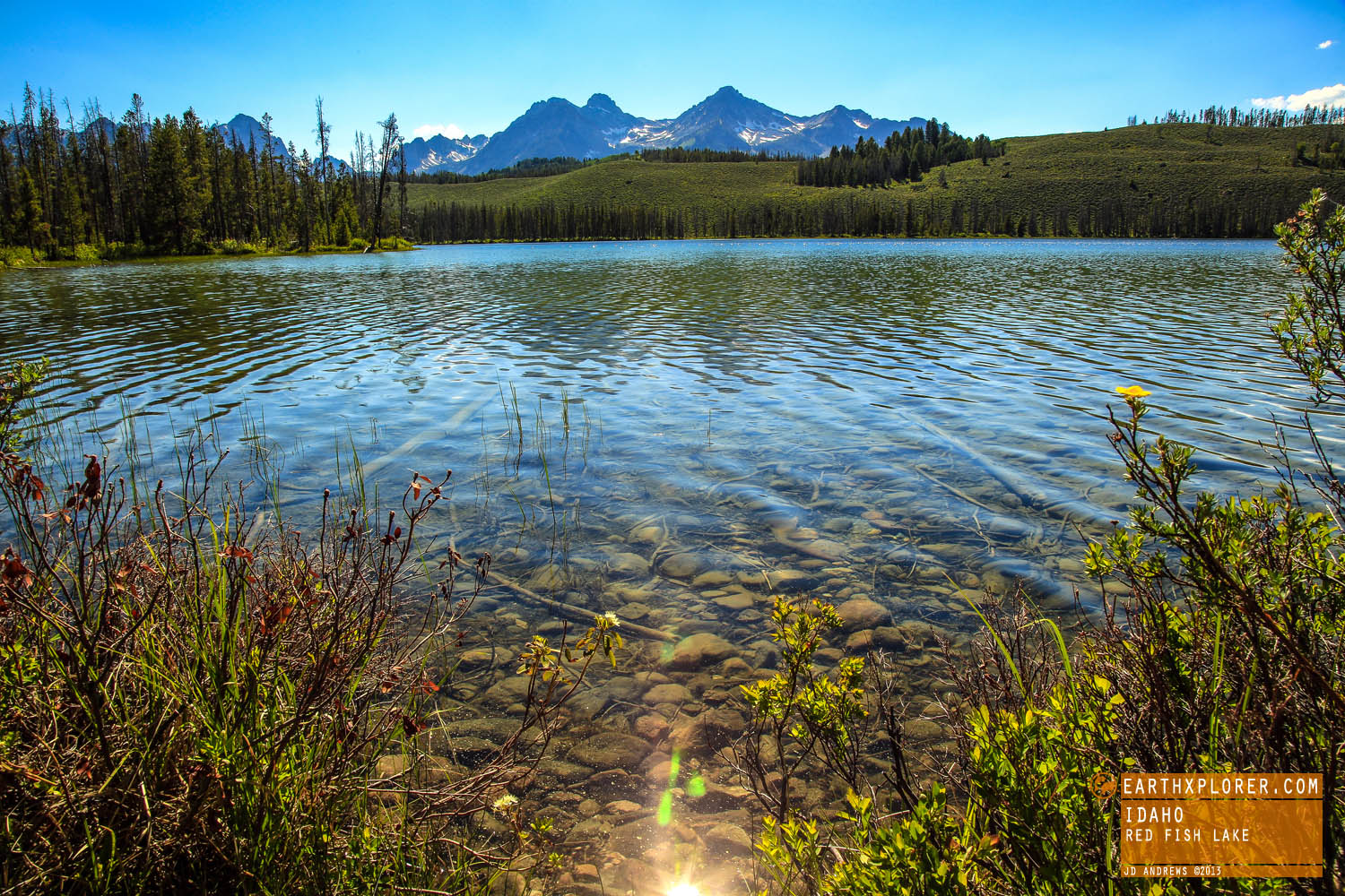 Red Fish Lake is 6,550 above sea level.