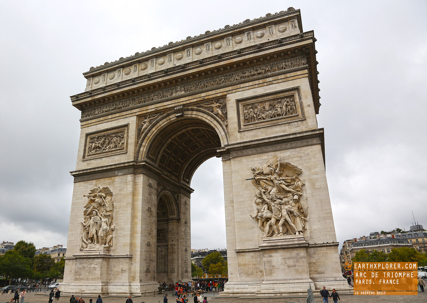 The Arc de Triomphe honors the people who fought and died for France in the French Revolutionary and the Napoleonic Wars.