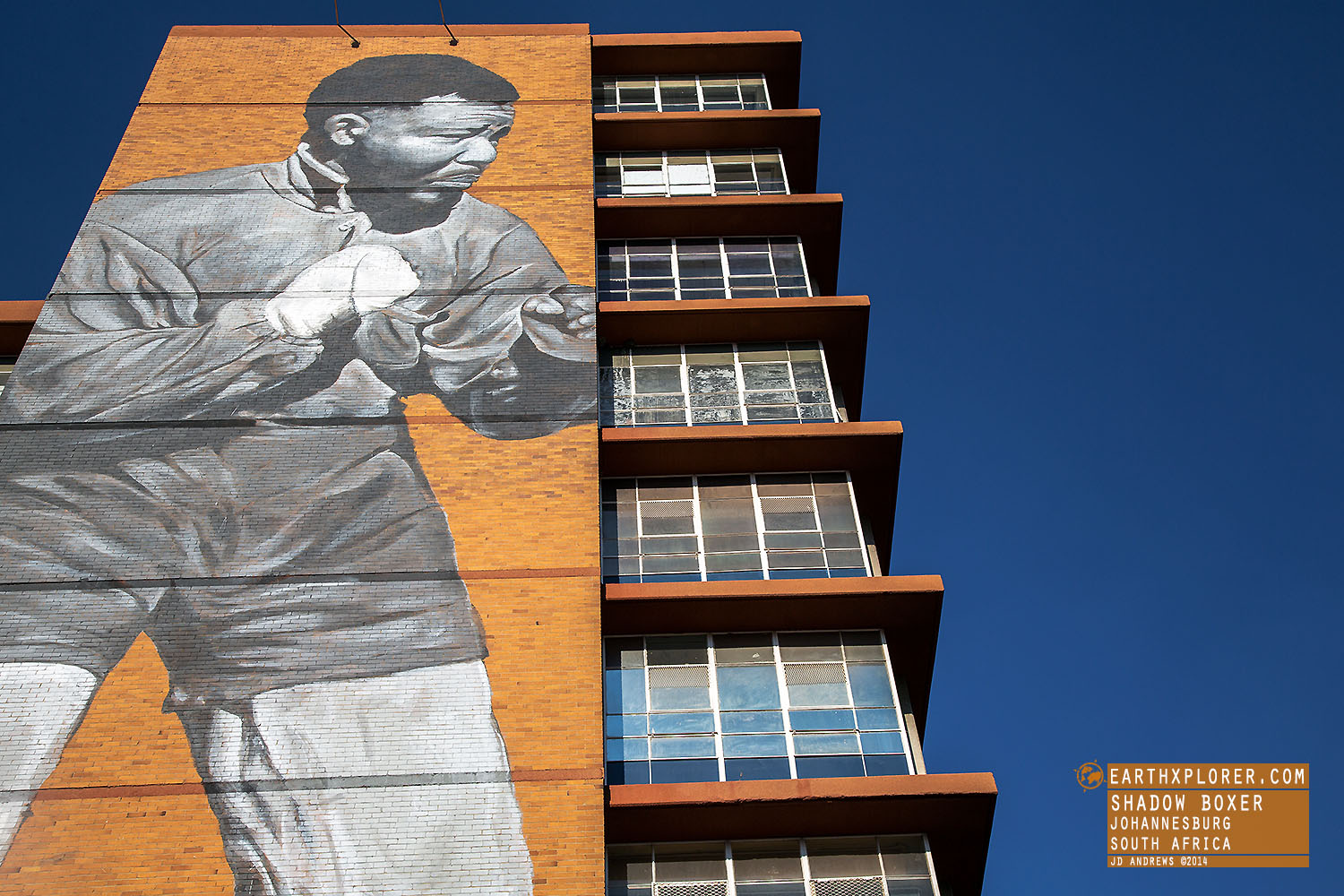 Mandela Shadow Boxer Mural Johannesburg South Africa