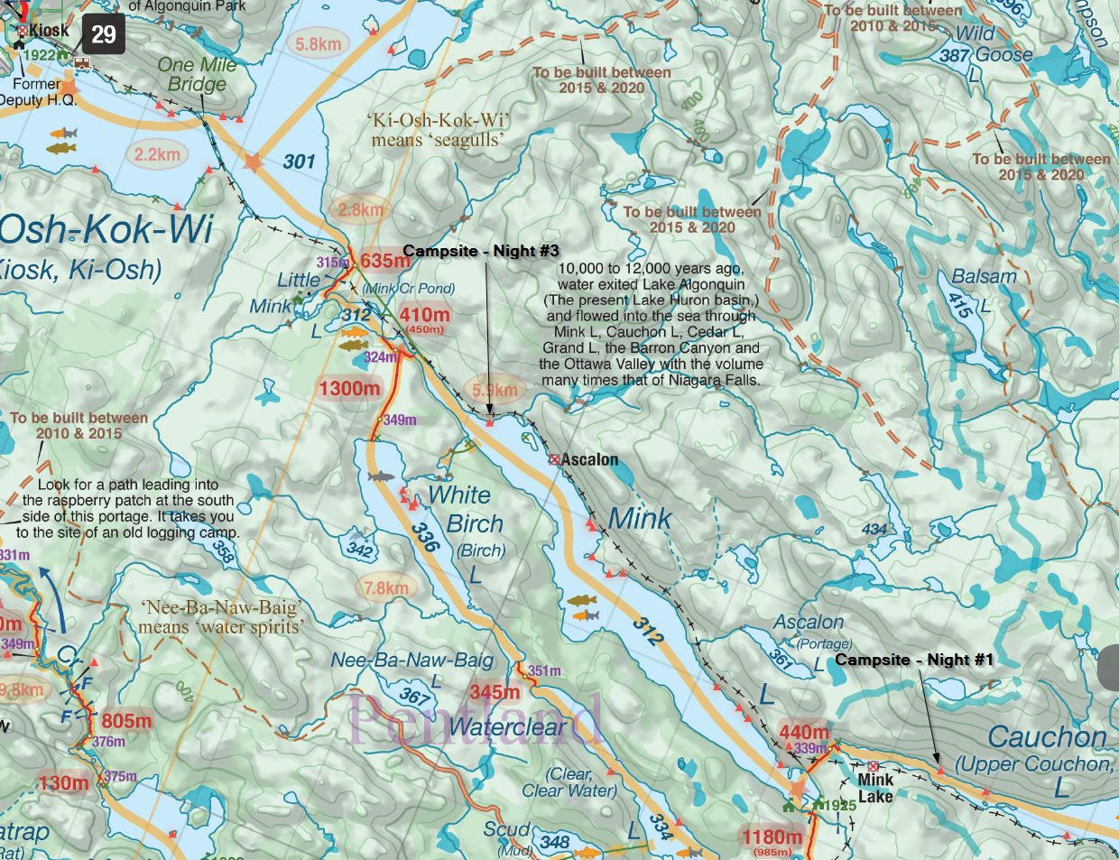 Campsites on nights 1 and 3 ( map courtesy of Jeff McMurtrie )