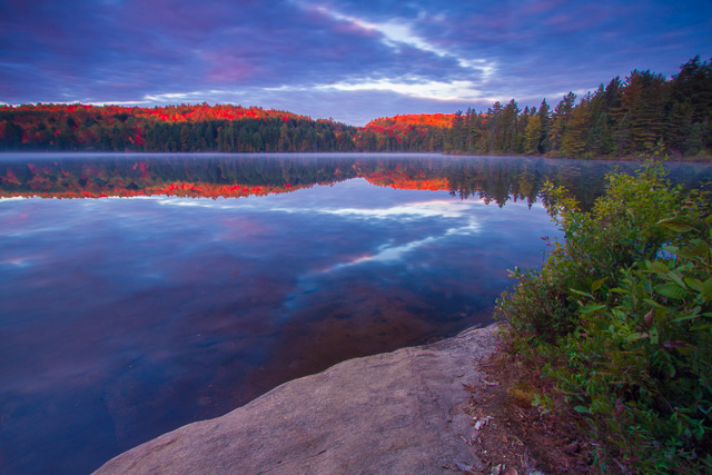 The stunning fall scene from my Sunday Lake island campsite… worth waking up early for!