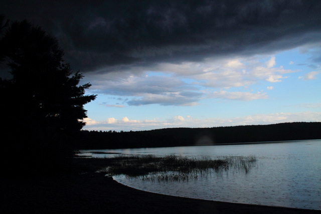 Grand Lake after our safe return… check out those dark skies!