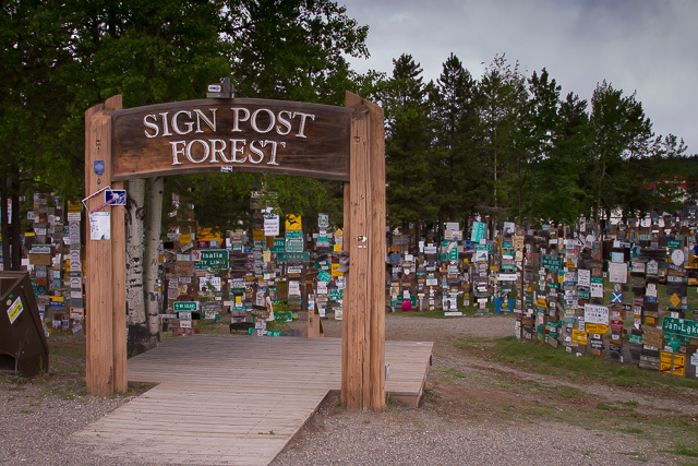 Sign Post Forest, Watson Lake, Yukon, Canon 7D with Canon EF 28-300mm @ 28mm, 1/1600s @ f/8, ISO 1600