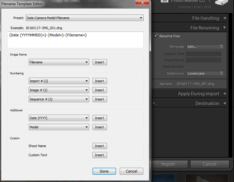ADOBE LIGHTROOM'S IMPORT DIALOG: FILE RenamING PANEL
