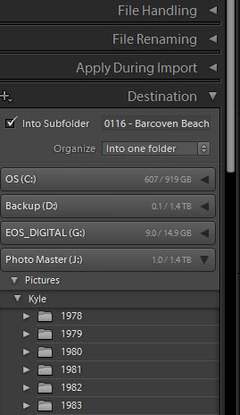 ADOBE LIGHTROOM'S IMPORT DIALOG: Destination PANEL