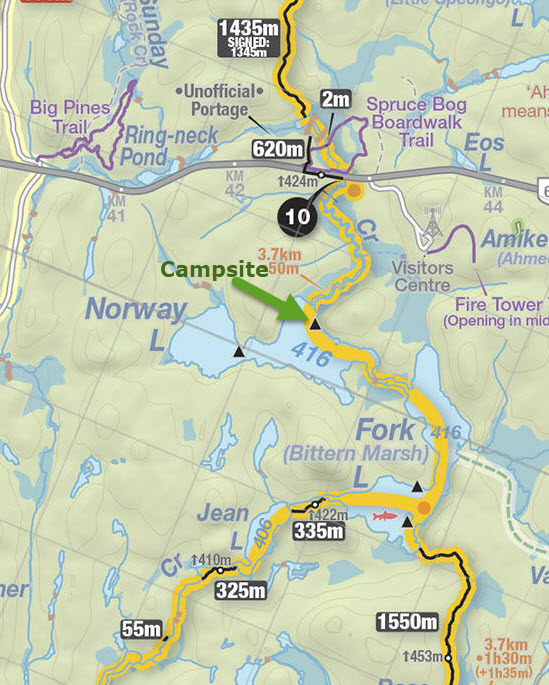 Overnight Kayak Trip to Norway Lake, Algonquin Provincial Park, Ontario (map courtesy of www.algonquinmap.com)