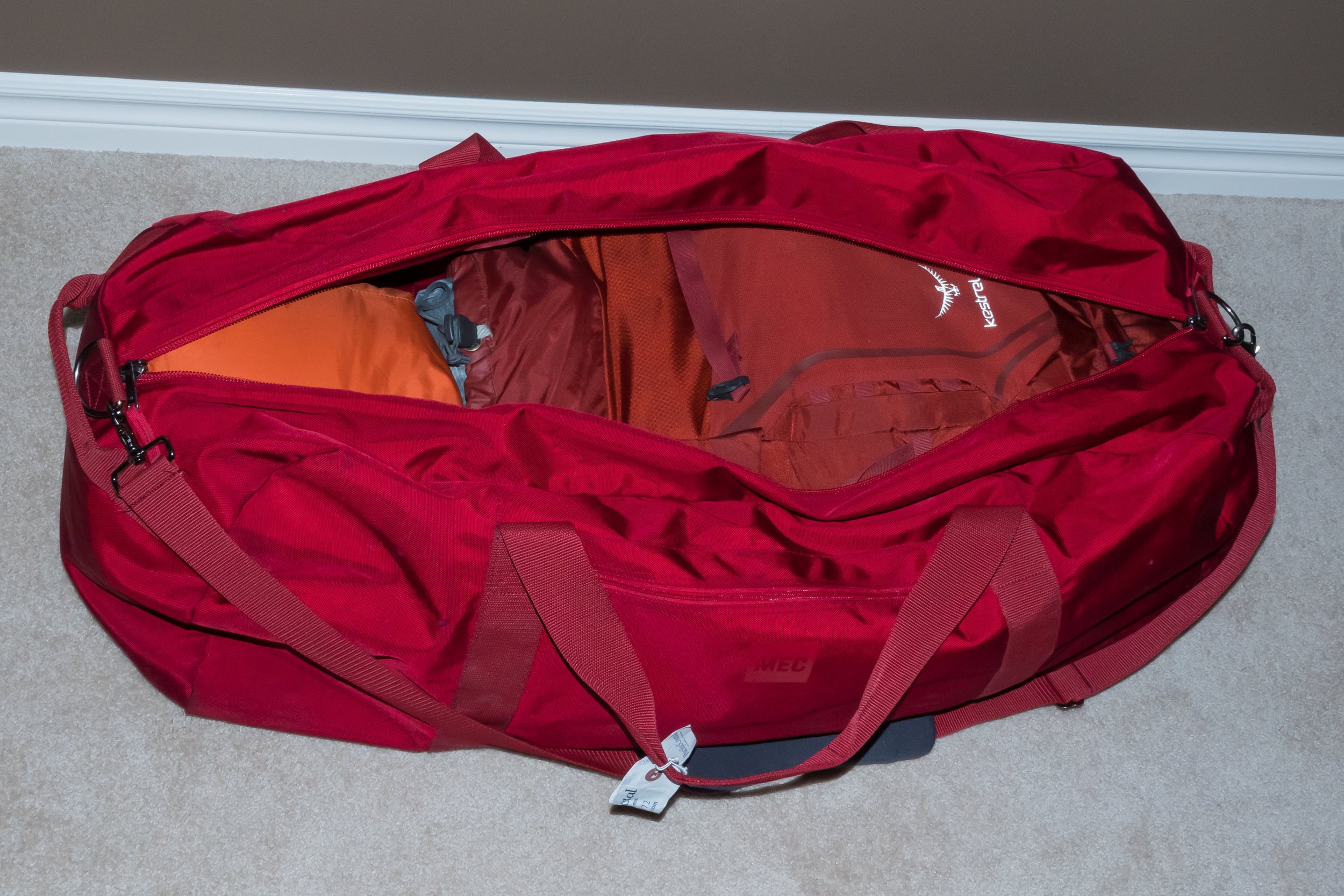 Almost ready! my backpack and sleeping bag are in. Trail shoes, tent poles, a tripod and a small toiletry bag get crammed in the remaining space.