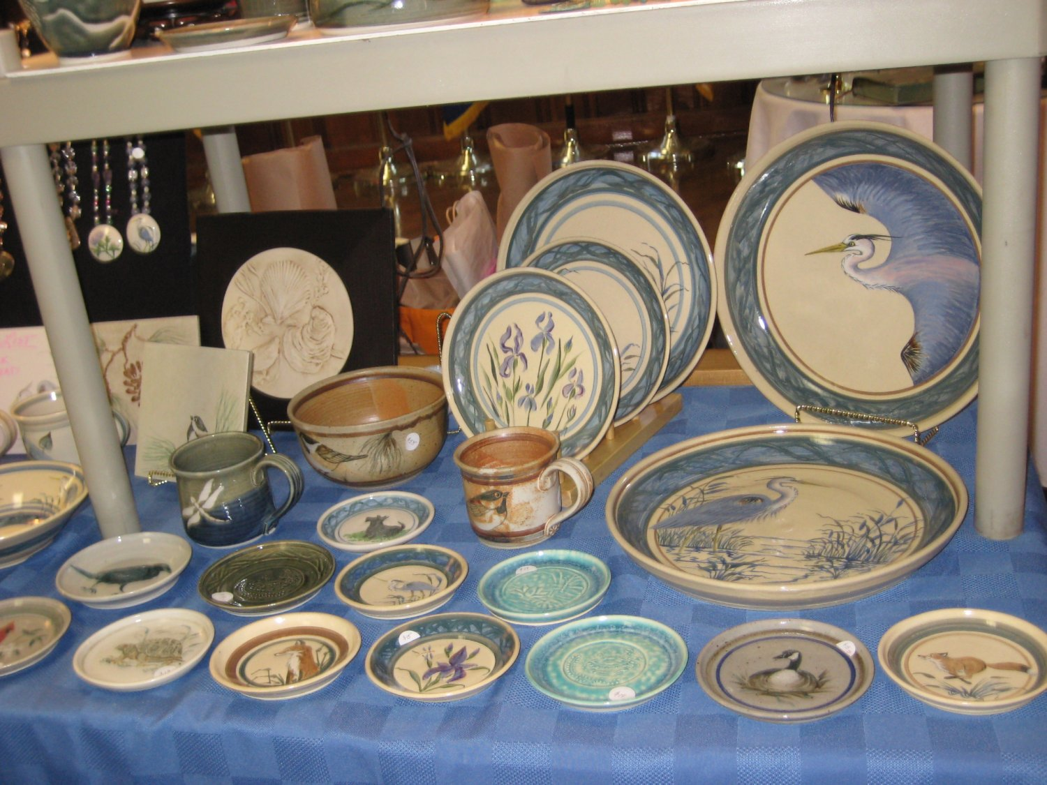 Some of Jean Higgins' handcrafted glazed stoneware.