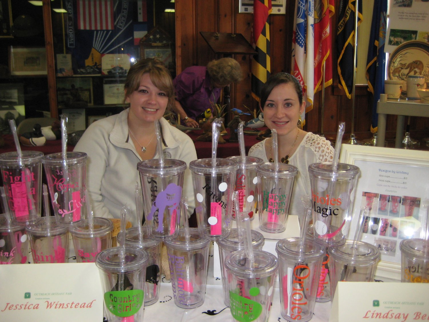 Jessica Winstead sold handcrafted wreaths (not shown), and Lindsay  Bell offered her handpainted tumblers.