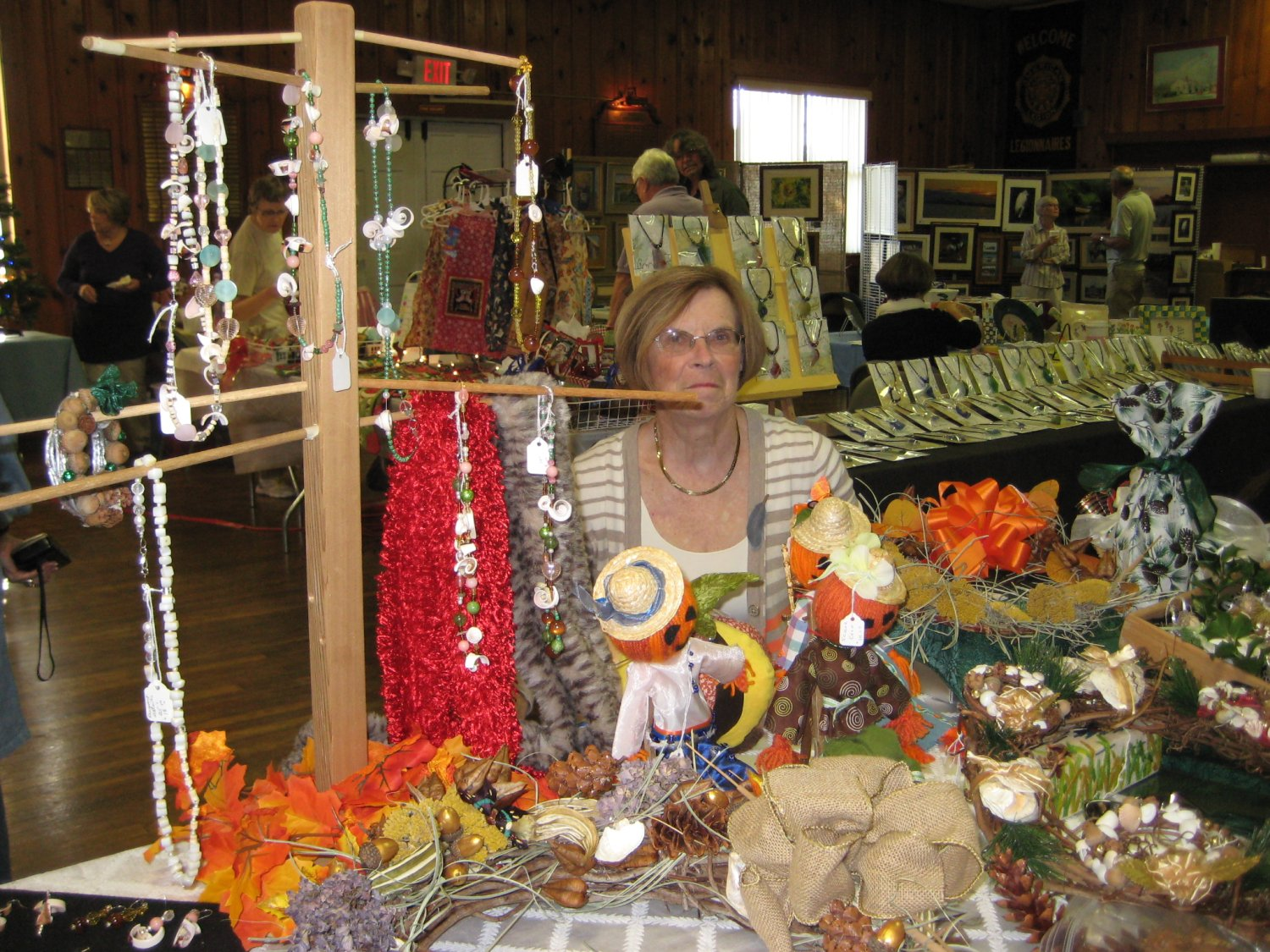 Julie Tompkins exhibited oyster and okra angels, Christmas balls, shell ornaments, and more.