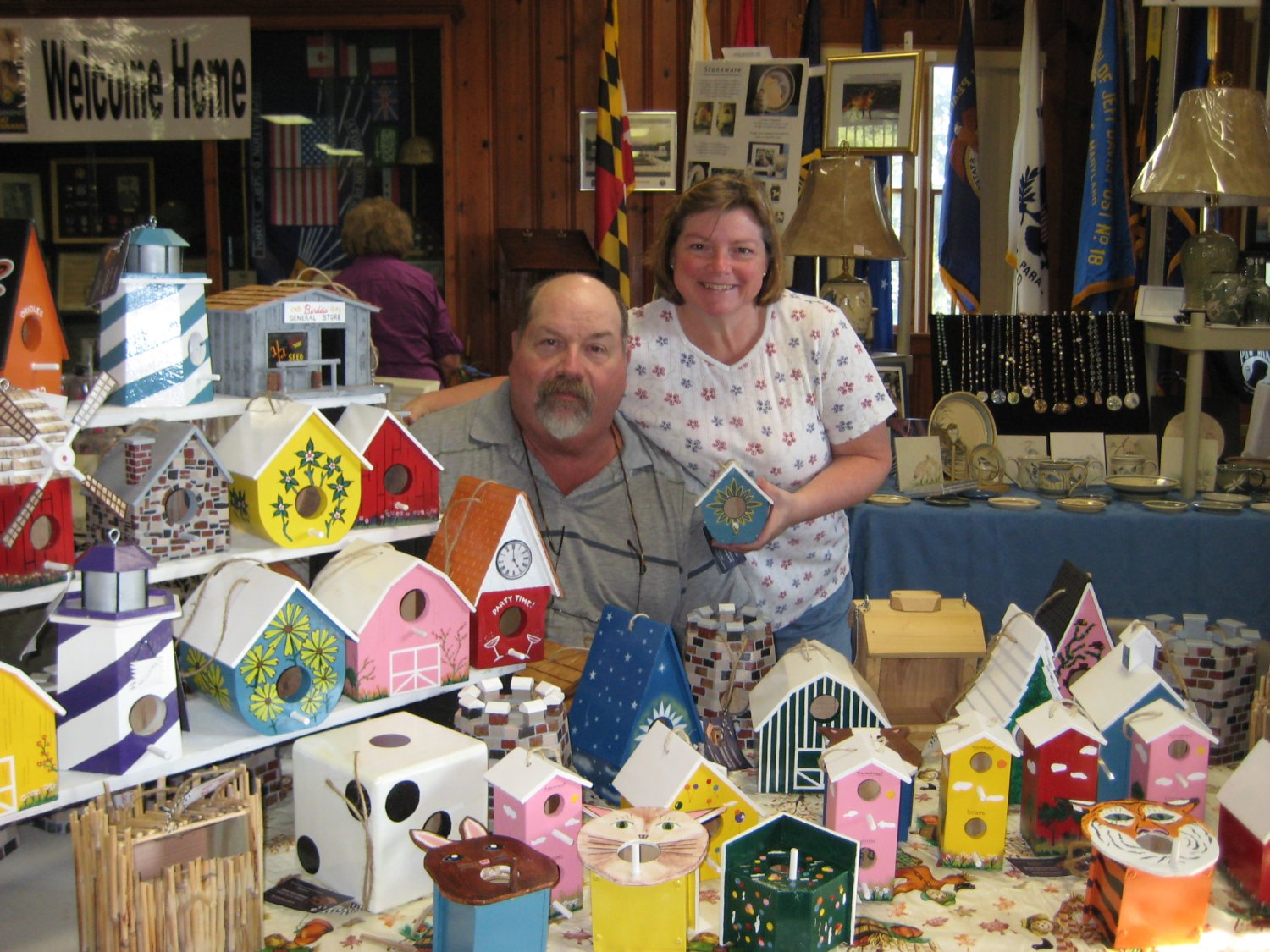 Jerry and Brenda Gessaman showed handcrafted and handpainted bird houses and bird feeders.