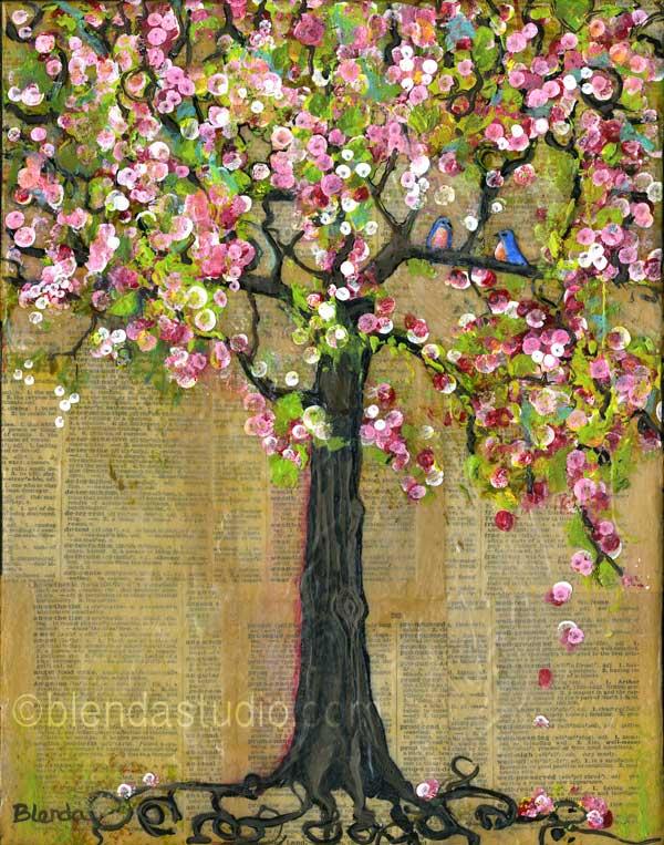 "Lexicon Tree 4 - by Blenda Tyvoll - 11X14"" - Mixed Media on Canvas"