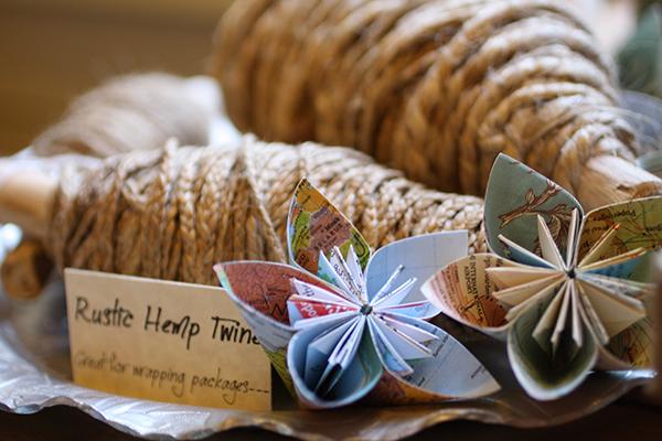 Bundles of hemp twine and Erica's handmade flowers